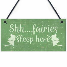 Fairies Sleep Here Novelty Hanging Shabby Chic Plaque Novelty Fairy Garden Sign