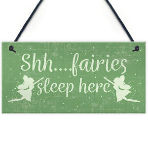 Fairies Sleep Here Novelty Hanging Shabby Chic Plaque Novelty Fairy Garden Sign