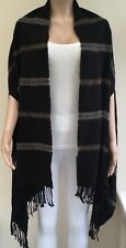 River Island Black Brown Stripe Poncho Cape One Size  #K60