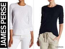 NWT JAMES PERSE  Cotton/Modal Slub knit Tee top WSVH3180CU Wht/Blk 1/2/3/4 $95