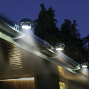 Solar Powered Led Gutter Door Wall Fence Lights Outdoor Garden Roof Security