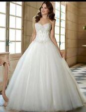 UK Corset White/Ivory Tulle Wedding Dress Bridal Ball Gown Size 6-24