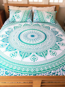 Indian Mandala Ombre Print Bedding Set Queen Size Bed Cover With 2 Pillow Case