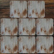 SET OF EIGHT MDF & CORK COASTERS - 95MM SQUARE - RUSTY IRON, RUSTY COLORBOND