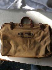Vintage Bell System Klein Buhrke Canvas Telephone Linesman Bag Leather Bottom Ha
