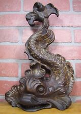 Antique KOI DEVIL FISH Cast Iron Figural Ornate Doorstop Decorative Art Statue