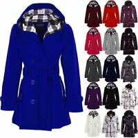 Women's Belted Hooded Button Up Ladies Long Checked Winter Duffle Jacket Coat