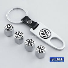 CAR Wheel Tyre Tire Valves Dust Stems Air Caps + Keychain Volkswagen VW Chrome