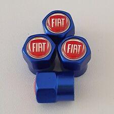 FIAT Blue Metal Valve Dust Caps for all models PANDA 500 PUNTO QUBO IPO 500X 595