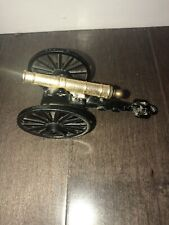 Vintage Civil War Style Brass & Cast Iron Cannon Made In Italy Military Decor