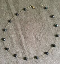 Vintage Tahitian pearl and 9ct gold wire necklace