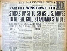 <1933 newspaper Numismatics ROOSEVELT ENDS US GOLD STANDARD $20 gold coins illeg