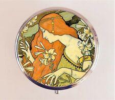 Art Nouveau Pill Box Pillbox Case - Redhead Art Deco Edwardian Stash Box