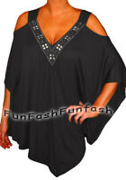 PS@ Funfash Plus Size Women Off Open Shoulder Black Blouse Top Shirt Made in USA