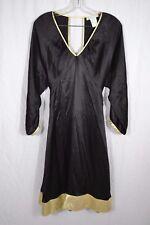 PAUL and JOE SISTER black silk long sleeve A-line dress size 38 (10) gold trim