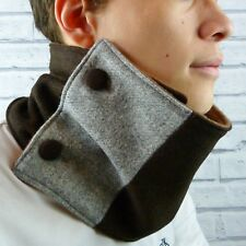 Colour Block Neckwarmer Scarf - Yorkshire Wool Tweed, Brown/Grey