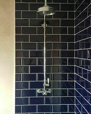 HALF CUT SAMPLE Subway Bevel Brick Cobalt Royal Prussian Blue Ceramic Wall Tiles
