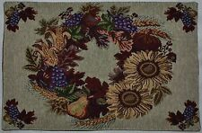Tapestry Placemat~Harvest Wreath~Fall Sunflower~Corn~Grape~Leaf~Thanksgiving~NEW