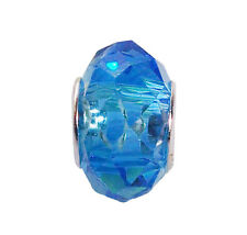 Aqua Light Blue Faceted Crystal Glass Murano Bead for European Charm Bracelets