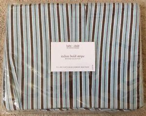Restoration Hardware Baby & Child Italian Bold Stripe Cotton Full Bed Skirt New