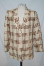 Fab! VINTAGE LILLI ANN cream & brown PLAID WOOL BOYFRIEND BLAZER JACKET sz