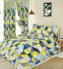 LIME GREEN YELLOW & BLUE PATCHWORK GEOMETRIC PATTERN DOUBLE BED DUVET COVER SET