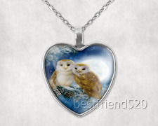 Owl Photo Tibet Silver Cabochon Glass Heart Pendant Heart Necklace#B97