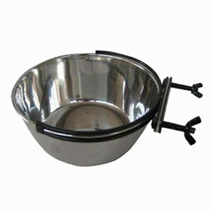 400ml Stainless Steel Coop Cup Bird Parrot Cage Aviary Dog Water Bowl