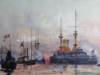 c1901 Print THE PRINCE GEORGE at Spithead NAVAL REQUIEM of QV 1901 Charles Dixon