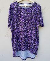 Lularoe Womens Irma Tunic Top Shirt Size XXS Purple Floral Short Sleeve Stretch