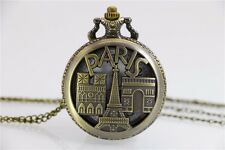 Pocket Watch Eiffel Tower Paris Stainless Steel Casing + Necklace 80cm France (