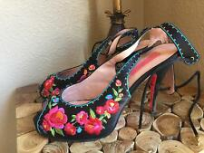 BETSEY JOHNSON JAMISON / black with floral embroidery/ HEELS/ANKLE STRAP/ 8.5 M