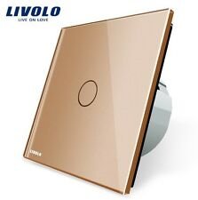 ORIGINAL LIVOLO Touchscreen TASTER Türklingel Impulsschalter GOLD Glas LED