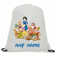 PERSONALISED SNOW WHITE & THE SEVEN DWARFS GYM SWIMMING PE SCHOOL DRAWSTRING BAG