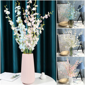 Large Long Stem Silk Orchids Flowers Floral Bouquet Fake Artificial Plants uk