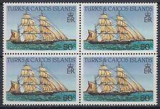Turks & Caicos 1983 ** Mi.666 A Bl/4 perf.14 Schiffe Ships [sq5834]
