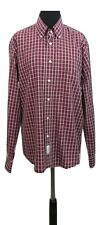 THOMAS BURBERRY Shirt Size L Red White Check Designer Evening Wedding Party