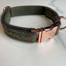 Barbour Green Tweed Dog Collar Rose Gold Metal Buckle Countrywear