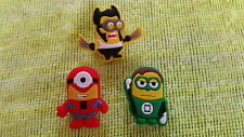 MARVEL'S MINIONS shoe charms/cake toppers!! Spiderman-Green Lantern-Wolverine!!