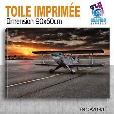 90x60cm -TOILE IMPRIMEE-TABLEAU  POSTER DECO -  AVION(PLANE) - AVI1-01T