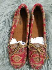 Women's Minnetonka Red Tan Aztec Print Moccasin tagged size 11