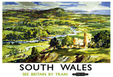 Art Ad South Wales see Britain by Train Western  Train Rail Travel  Poster Print