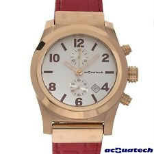 ACQUATECH GENTS MENS LEATHER STAINLESS STEEL CHRONOGRAPH WATCH MODEL cl2rbnro