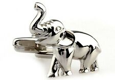 Elephant Cufflink Animal Trunk Gift Wedding Zoo Novelty + Box & Cleaner
