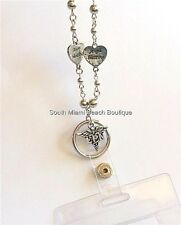 Nursing Graduation Gift LPN Caduceus ID Tag Lanyard Angel Heart Eyeglass Holder