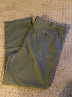 IZOD Chino Khaki Brown Pants Mens 44X32 Pleated Front  Excellent Condition