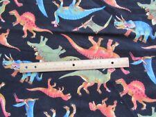 2 Yards Black Classic Dinosaur Flannel Fabric