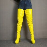 Fashion Women Thigh High Boots Patent High Heels Boots Shoes Woman Size 4-20