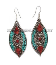 Turquoise Earring Tribal Earring Tibet Earring Coral Earring Brass Earring Gypsy