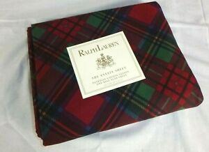 NEW Ralph Lauren Destry Tartan Plaid Red Green KING Flat Sheet Cotton Sateen